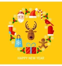 Happy new year postcard vector
