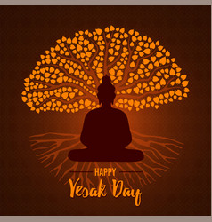 Happy vesak day card buddha and bodhi tree vector