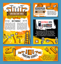 home repair sketch work tools poster vector image