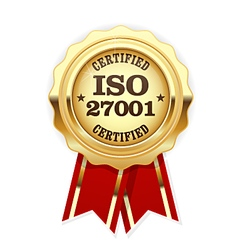 ISO 27001 standard certified rosette - Information vector image