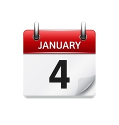 January 4 flat daily calendar icon Date vector image