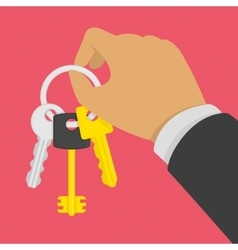 Keys on key ring in hand vector image