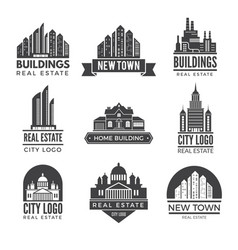 labels or logos with pictures of different modern vector image