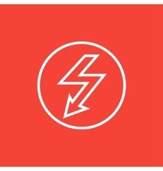 Lightning arrow downward line icon vector