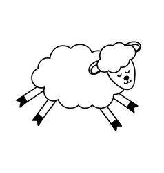 Line cute sheep animal with wool design vector
