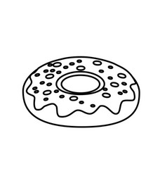 Line delicious sweet donut bakery snack vector
