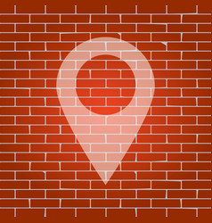 Mark pointer sign whitish icon on brick vector