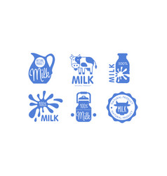 milk natural products logos set fresh dairy food vector image