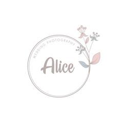 Minimalist logotype alice with leaf element vector