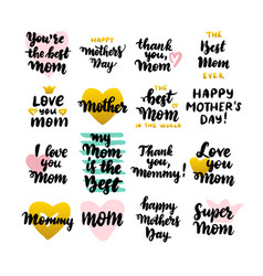 Mothers day hand drawn quotes vector