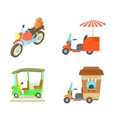 Motobike icon set cartoon style vector