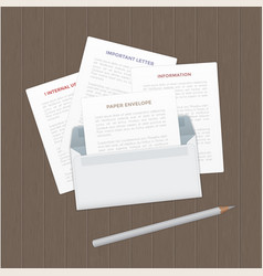 Opened paper envelop with letter on wood vector