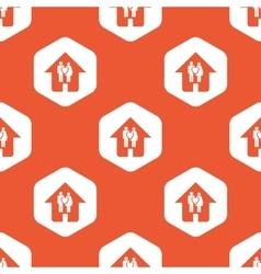 Orange hexagon family house pattern vector image
