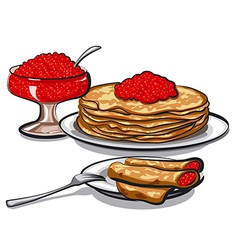 Pancakes with red caviar vector