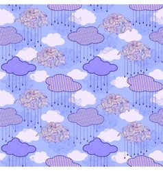 Pattern with abstract clouds and raindrops vector
