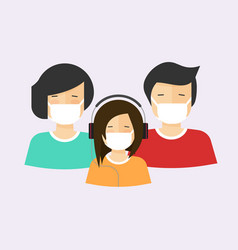people in medical face mask or family with child vector image
