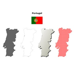 Portugal outline map set vector