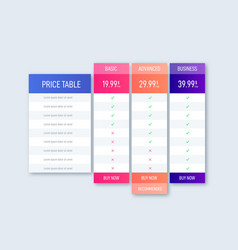 Price table business template vector