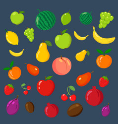rainbow of fruits on the blue background vector image