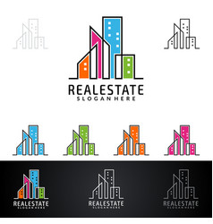 real estate logo design abstract building and vector image