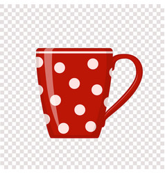 red polka dot cup on transparent background vector image