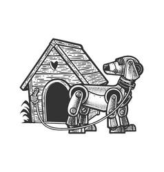 Robot dog near booth sketch vector