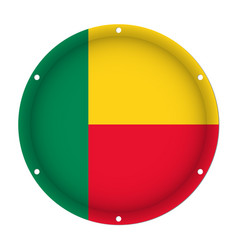 round metallic flag of benin with screw holes vector image