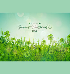 saint patricks day with green clovers vector image