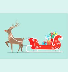santa claus sleigh and deer vector image