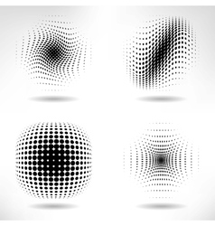 set abstract halftone design elements vector image