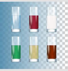 set drinks in glasses vector image