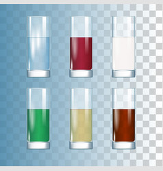 set of drinks in the glasses vector image