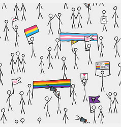 Simply stylized massive lgbt demonstration pattern vector