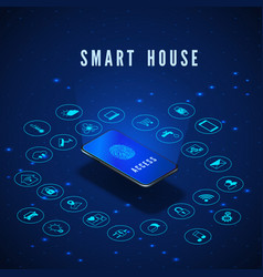 smart house banner smartphone with fingerprint on vector image