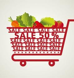Supermarket Shopping Cart and vegetable vector