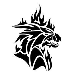 tribal tattoo art with black flaming dragon head vector image