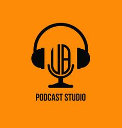 Ub monogram headphone and microphone style vector