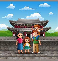 vacation with family in changdeokgung palace vector image