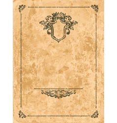 Vintage frame on old paper sheet vector image