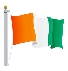 waving cote d ivoire flag isolated on a white vector image