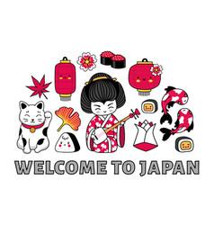 Welcome to japan banner kawaii geisha vector
