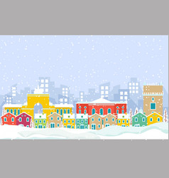 Winter snow in lisbon city cityscape skyline vector