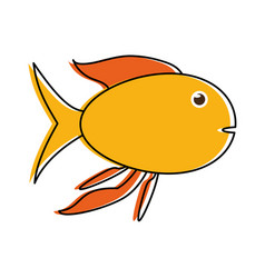 yellow fish sideview icon image vector image