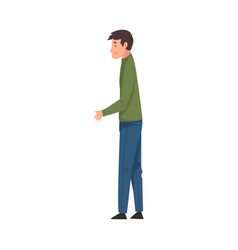 young man standing and stretching hand vector image
