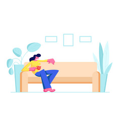 Young woman sitting on comfortable couch vector