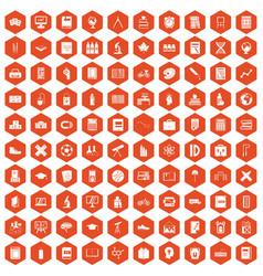 100 school icons hexagon orange vector image vector image