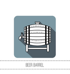beer wooden barrel with a tap black and white vector image vector image