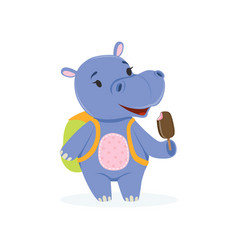 funny baby hippo character with backpack eating vector image vector image