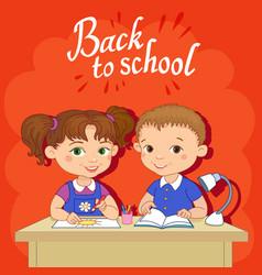 Funny pupils sit on desks read draw clay cartoon vector