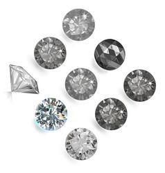 Gemstone bright flatlay set top side view vector